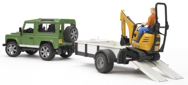 Land Rover Defender Station, Wagon mit Einachsanhänger, JCB Mikrobagger 8010 CTS und Bauarbeiter (Kl