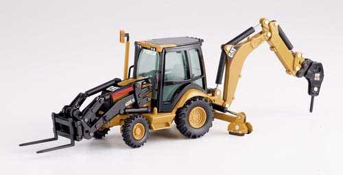 CAT 420E Baggerlader mit Arbeitsgeräten Modell von DieCast Masters 1:50