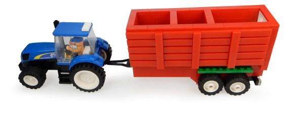 New Holland Traktor mit Heuwagen Bausatz