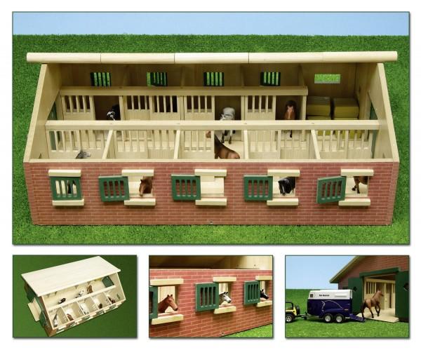Pferdestall mit 9 Boxen Modell von Kids Globe 1:32