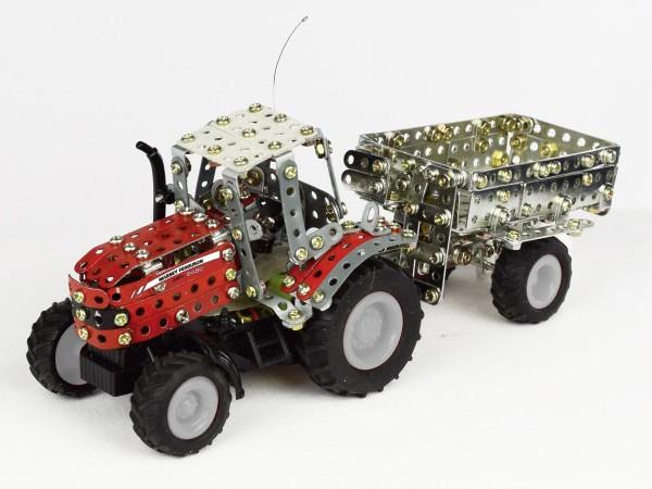 Metallbaukasten Massey Ferguson 7600 RC-Modell ferngesteuert mit Kippanhänger u. LED-Beleuchtung Mod