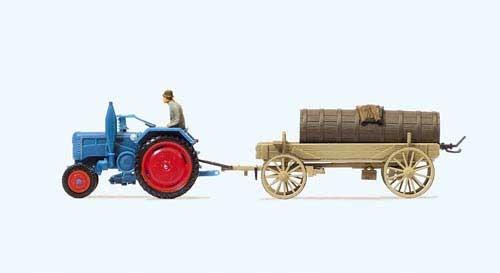 Lanz D 2416 Ackerschlepper mit Anhänger und Jauchefass (Fertigmodell) Modell von Preiser 1:87
