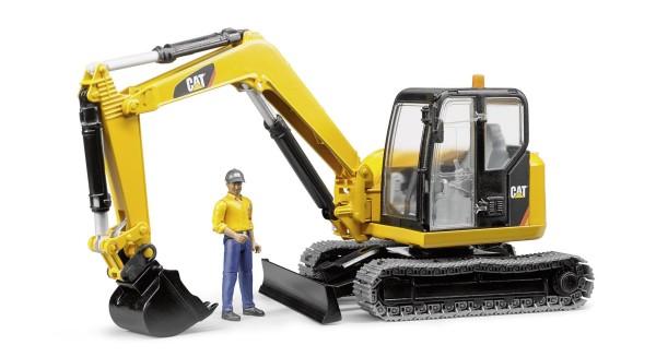 Cat Minibagger mit Bauarbeiter Modell von Bruder 1:16