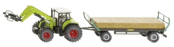 Traktor mit Quaderballengreifer und Oehler Ballenwagen Modell von Siku 1:50
