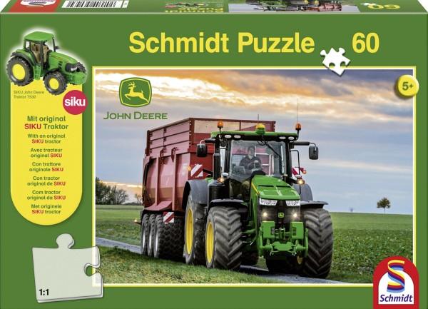 Puzzle John Deere 8370R 60 Teile + Siku Traktor