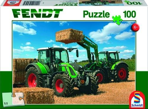 Puzzle Fendt 724 Vario, Fendt 716 Vario mit Frontlader Fendt Carto 4x85 100 Teile