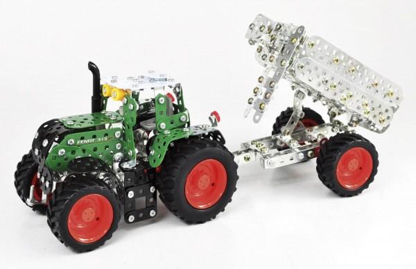 Metallbaukasten Fendt 313 Vario mit Anhänger (Mini Serie) Modell von Tronico 1:32