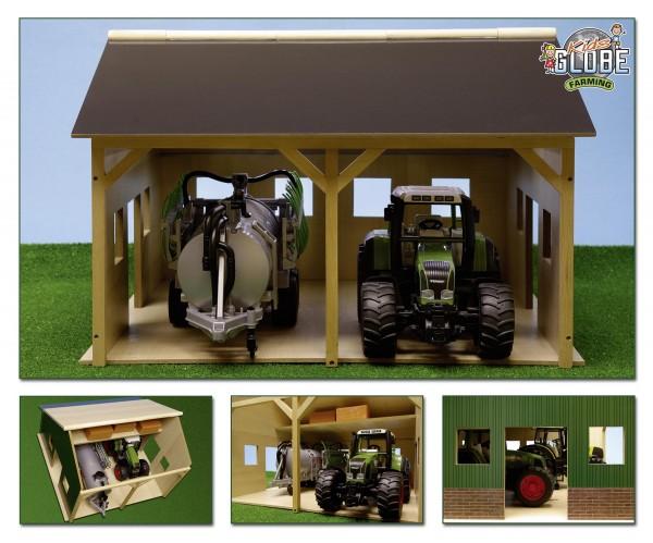 Maschinenhalle aus Holz für 2 Traktoren Modell von Kids Globe 1:16