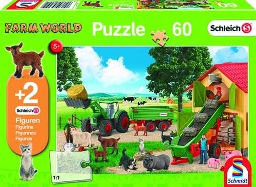 Puzzle Heueinfahrt auf dem Bauernhof, 60 Teile + 2 Schleich Tiere