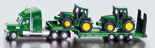 Tieflader-Lastzug mit John Deere Traktoren Modell von Siku 1:87