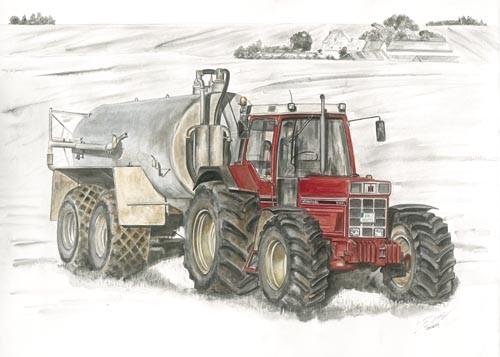 Kunstdruck Traktor mit Güllefass