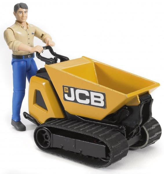 JCB Dumpster HTD-5 mit Bauarbeiter (Kleidungsfarben gemischt sortiert) Modell von Bruder