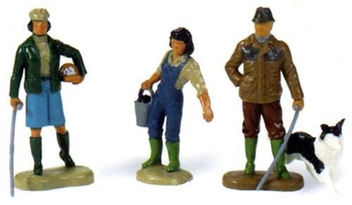 Bauernfamilie, 3 Personen + 1 Hund Modell von Britains 1:32