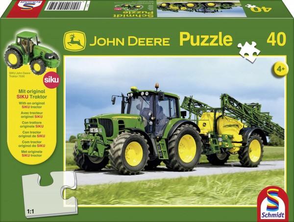 Puzzle John Deere 6630 mit Feldspritze 40 Teile + SIKU Traktor