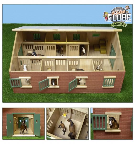 Pferdestall aus Holz mit 7 Boxen Modell von Kids Globe 1:24