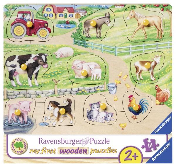 Holzpuzzle Morgens auf dem Bauernhof