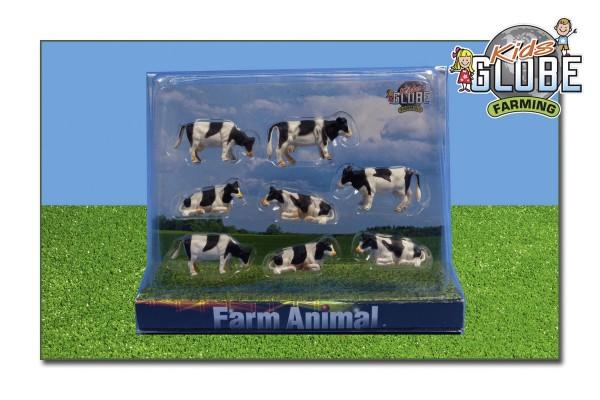 Kühe schwarz-bunt (stehend u. liegend) 8 Stk. Modell von Kids Globe 1:87