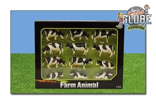 Kühe schwarz-weiß (stehend u. liegend ) 12 Stk. Modell von Kids Globe 1:32