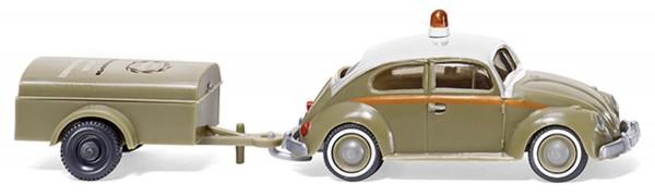 VW Käfer 1200 mit Einachsanhänger Schlotmann Modell von WIKING 1:87