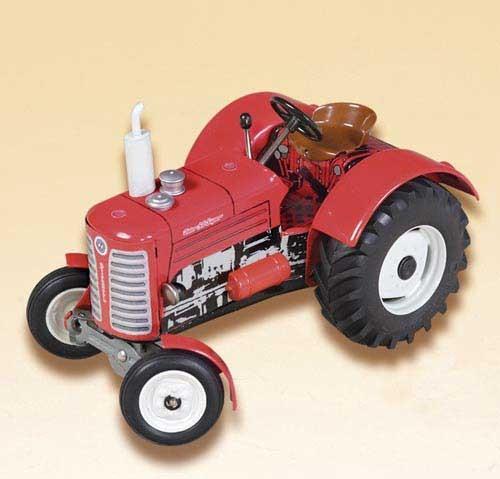 Zetor 50 Traktor (rot mit weißem Auspuff) Modell von Kovap 1:25