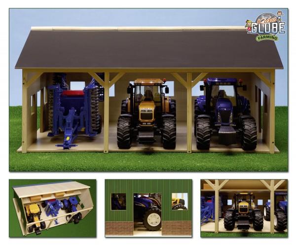 Maschinenhalle für 3 Traktoren aus Holz Modell von Kids Globe 1:16