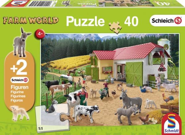 Puzzle Ein Tag auf dem Bauernhof 40 Teile + 2 Schleich Tiere