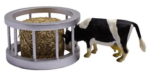 Futterraufe (rund) mit Heuballen und Kuh Modell von Kids Globe 1:32
