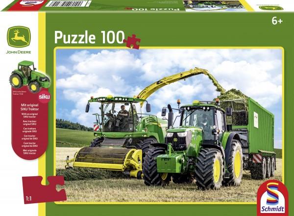 Puzzle John Deere Traktor 6195M und Feldhäckler 8500i, 100 Teile + SIKU Traktor