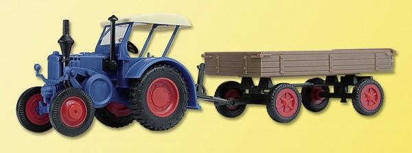 Lanz Bulldog mit Gummiwagen (Bausatz) Modell von kibri 1:87