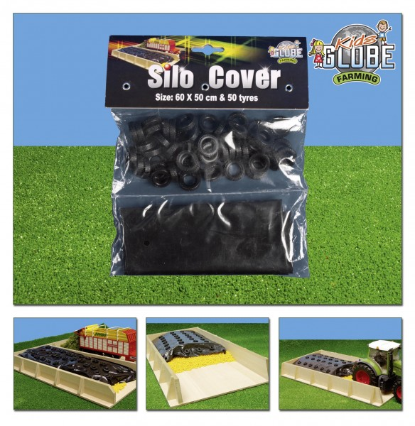 Siloabdeckung Silberfolie + 50 Reifen Modell von Kids Globe 1:32