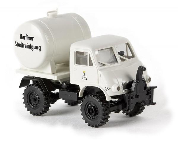 """Unimog 402 mit Tank """"BSR, U 25"""" (weiß) Modell von Brekina 1:87"""