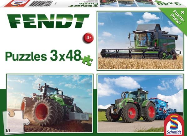 Puzzle Fendt 1050 Vario, 724 Vario und 6275L, 3 x 48 Teile
