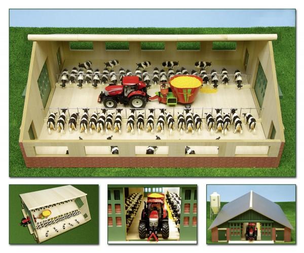 Kuhstall aus Holz (passend für Siku-Fahrzeuge) Modell von Kids Globe 1:32