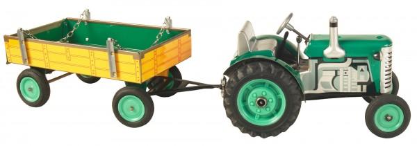 Zetor Traktor mit Anhänger grün - Plastik Felgen Modell von Kovap 1:25
