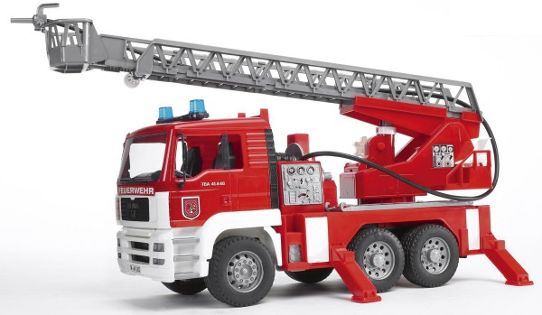 MAN TGA Feuerwehr mit Drehleiter, Wasserpumpe und Light and Sound Module inkl. Batterie Modell von B