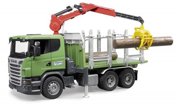 SCANIA Holztransport LKW R-Serie mit Ladekran, Greifer und 3 Baumstämmen Modell von Bruder Profi Maß