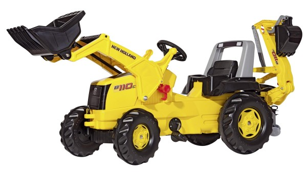 New Holland Trettraktor gelb mit Frontlader und Heckbagger