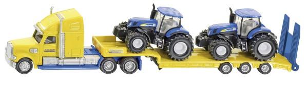 Sattelzug mit Tieflader und 2 New Holland Traktoren Modell von Siku 1:87