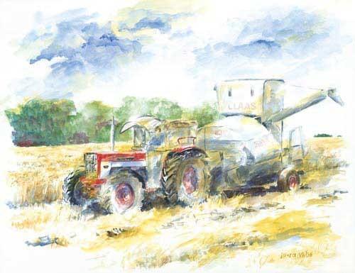 Kunstdruck Traktor mit Claas Mähdrescher