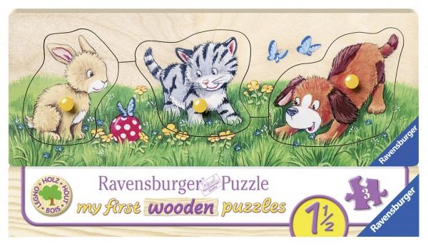 Holzpuzzle Niedliche Tierkinder