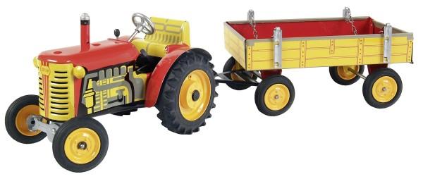 Zetor Traktor mit Anhänger rot - Plastik Felgen Modell von Kovap 1:25