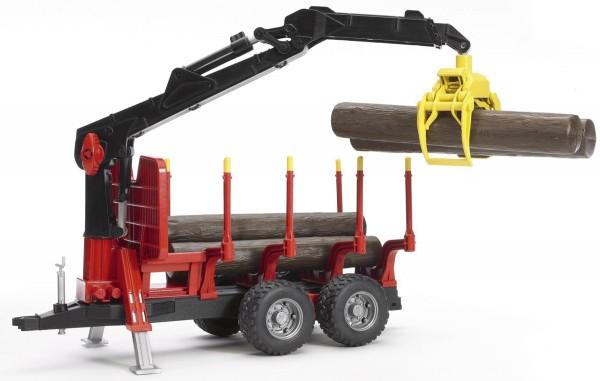 Rückeanhänger mit Ladekran, 4 Baumstämmen und Holzgreifer Modell von Bruder 1:16