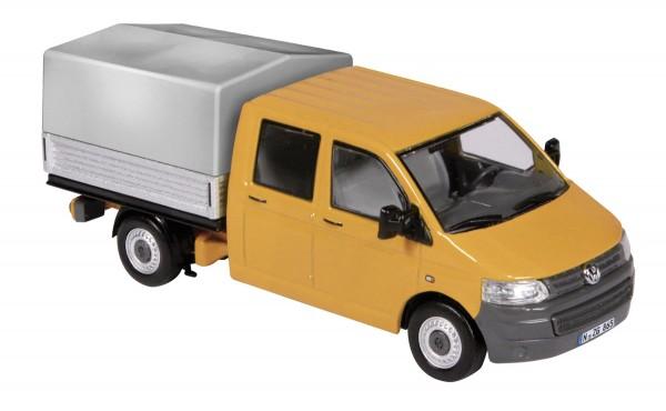 """Volkswagen T5 Doppelkabine mit Plane """"orange"""" Modell von NZG 1:50"""