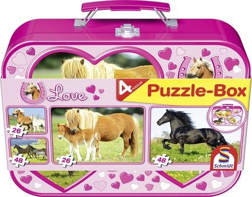 Puzzle-Box Pferde im Metallkoffer