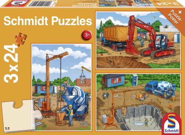 Puzzle Auf der Baustelle 3 x 24 Teile