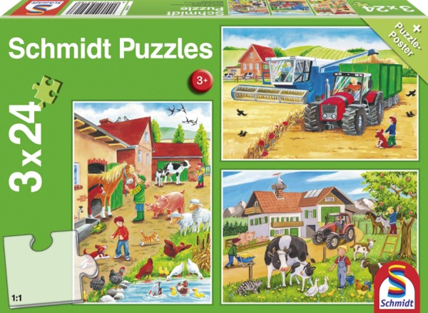 Puzzle Auf dem Bauernhof 3 x 24 Teile