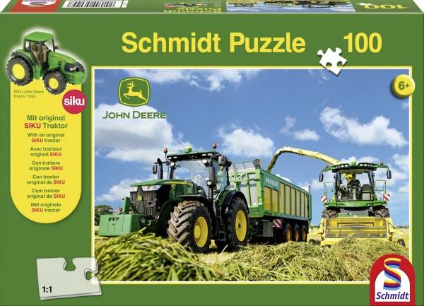 Puzzle John Deere 7310R mit 8600i Feldhäcksler 100 Teile + Siku Traktor