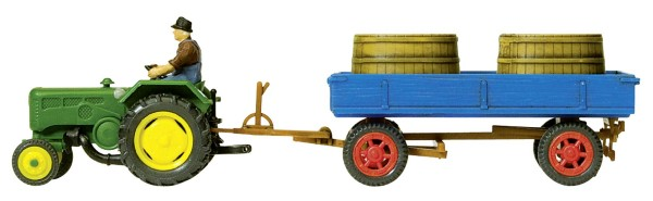 Lanz Ackerschleper D 2416 mit Bütten auf Anhänger (Fertigmodell) Modell von Preiser 1:87