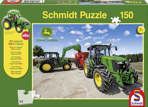 Puzzle John Deere Traktoren der 5M Serie 150 Teile + Siku Traktor