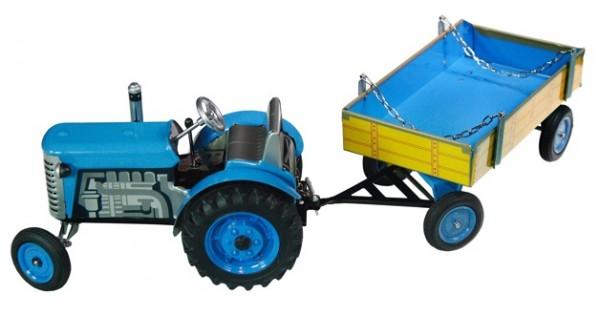Zetor Traktor mit Anhänger blau - Plastik Felgen Modell von Kovap 1:25